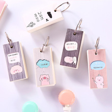 Cute Pig Whale Notebook Mini Wood Grain Ring Buckle Blank Word Book Card Tearable Notepads Stationery Gift Kawaii Memo Pad