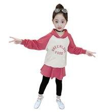купить Kids Tracksuit Clothing Set for Girls Hoodies Sweatshirt & Long Culottes Pants Sets Sport Wear Baby Sports Sweat Suit for Girls онлайн