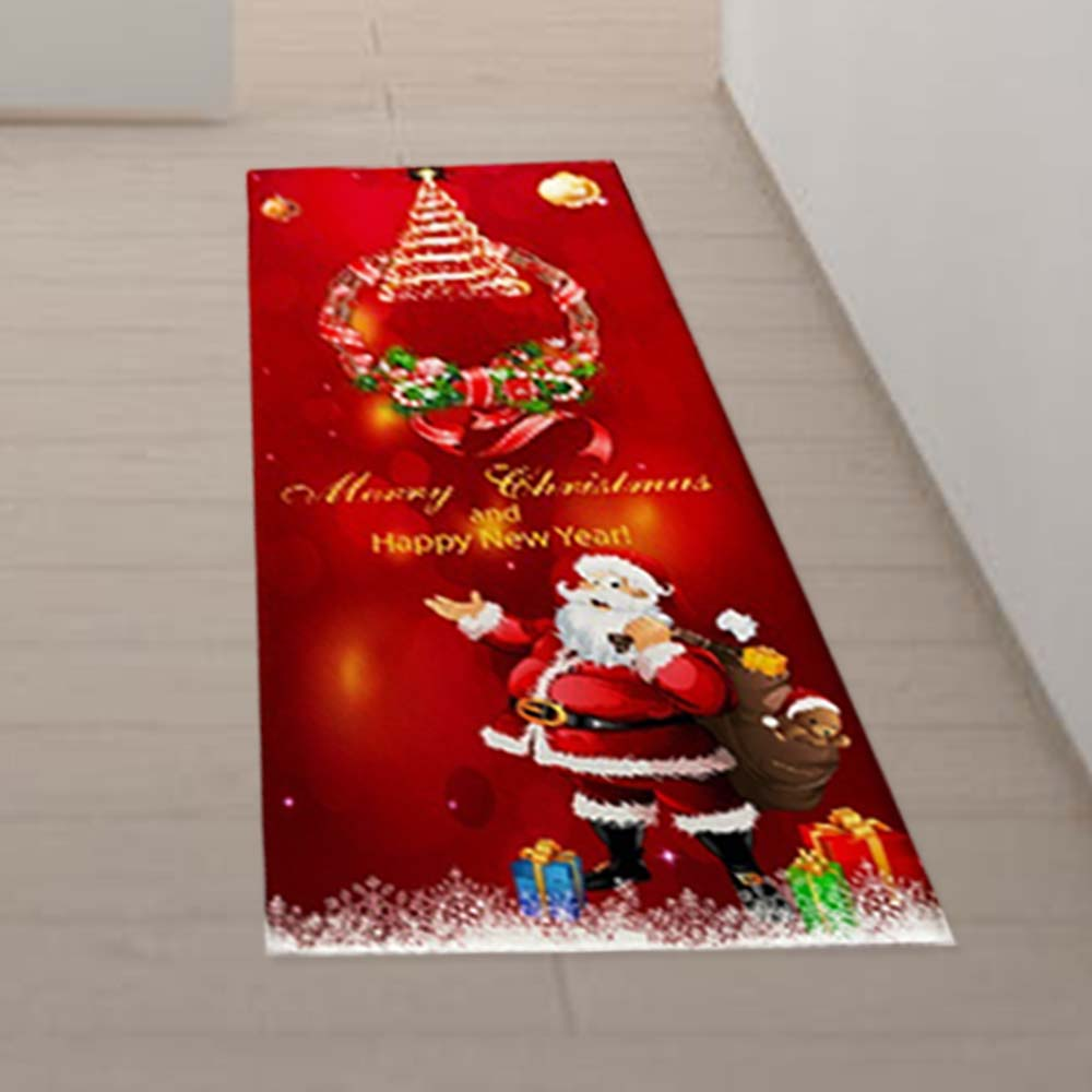 Soft Cartoon Decor Santa Claus Ornament Festival Xmas Supply Pad Colorful Flannel Home Christmas Floor Rug Carpet Doormat