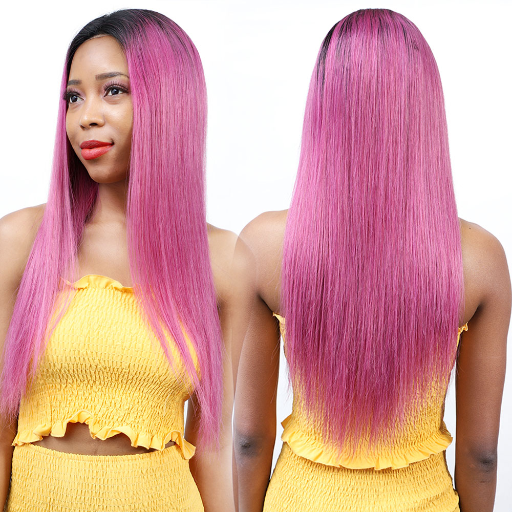Ombre Pink Colored Human Hair Wigs 13*4 Remy Long Brazilian Straight Lace Front Human Hair Wigs For Black Women Three Colors