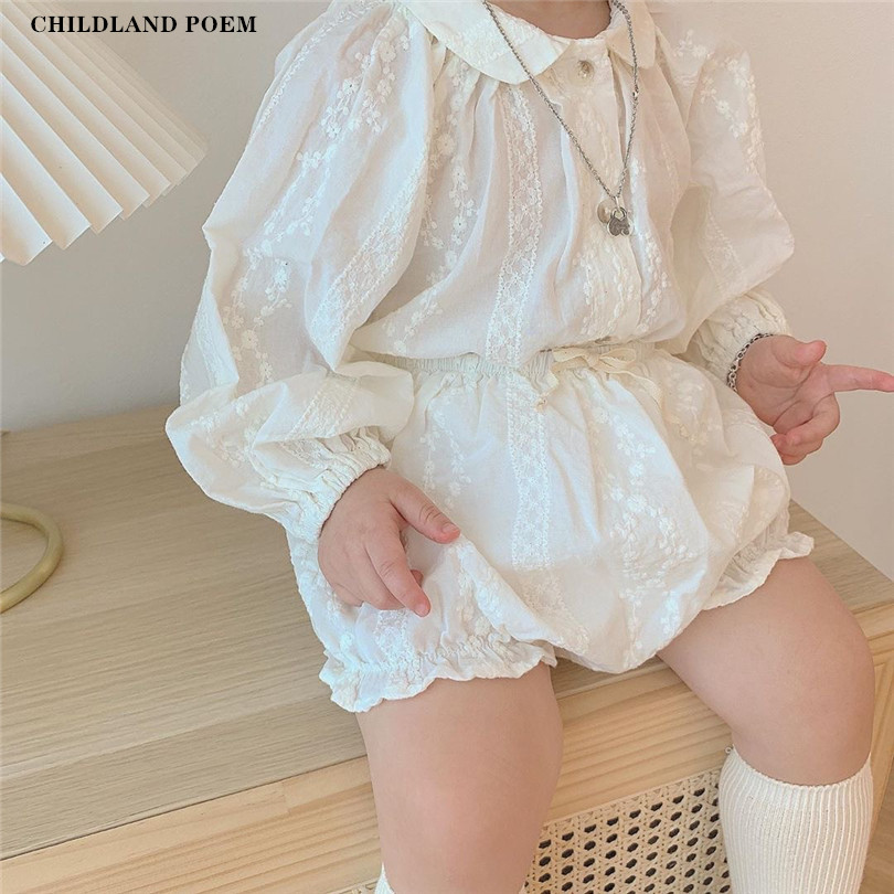 Baby Girl Clothes Set Spring Summer Baby Clothing Girl Princess Lace Infant Toddler Baby Girl Outfits Blouse + Shorts 2Pcs