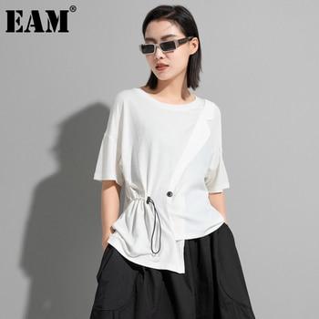 [EAM] Women White Irregular Drawstring Big Size T-shirt New Round Neck Short Sleeve Fashion Tide Spring Summer 2021 1DD9278 1