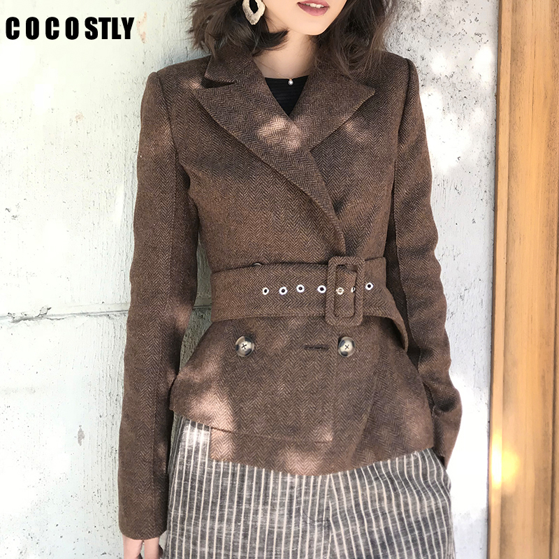 Women Blazers and Jackets Autumn double breasted short herringbone woolen small suit jacket women coat veste femme plus size