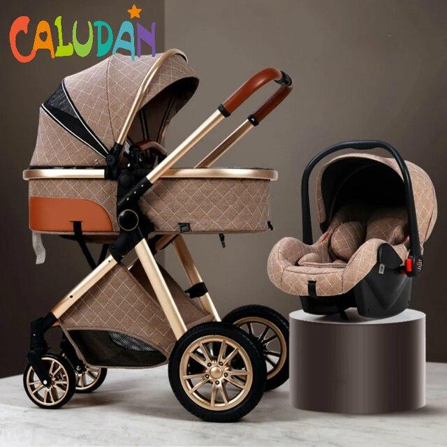 2021 novo carrinho de bebê 3 em 1 alta paisagem carrinho reclinável carrinho de bebê dobrável carrinho de bebê berço puchair recém-nascido 4