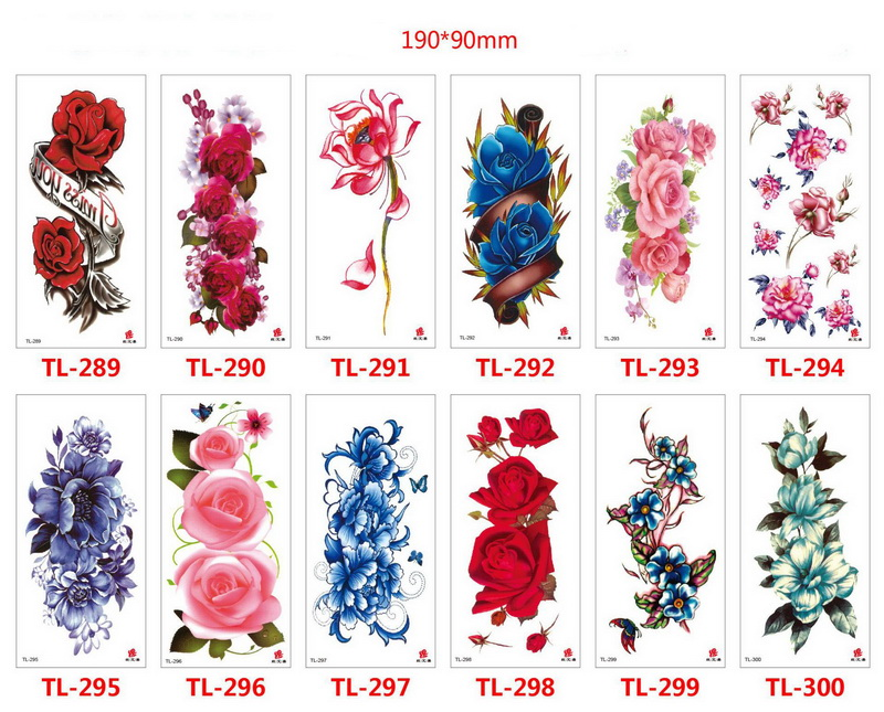 Fashion Removable Women Lady 3D Flowers Waterproof Temporary Tattoo Stickers Beauty Body Art Tattoos 1000sets/Lot