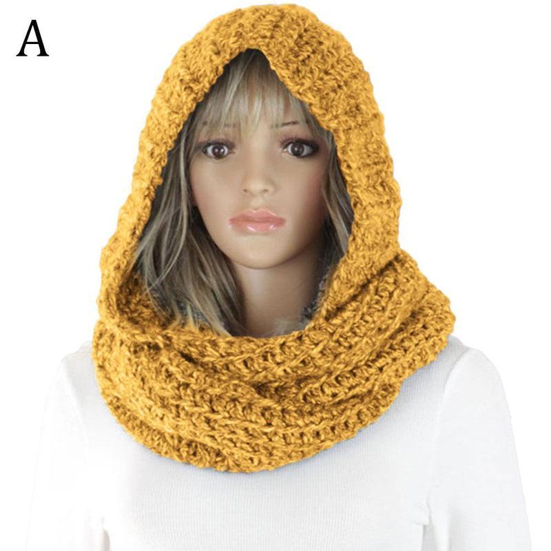 Capuche écharpe tricoté chaud solide décontracté pour femmes