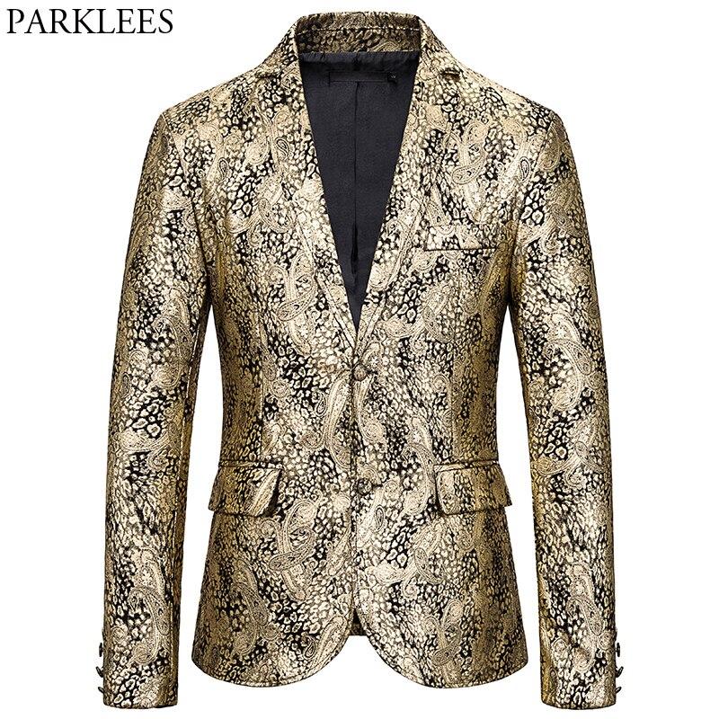 Luxury Gold Paisley Print Nightclub Blazer Men 2019 Brand New Slim Fit Suit Jacket Male Party Wedding Prom Stage Costume Homme