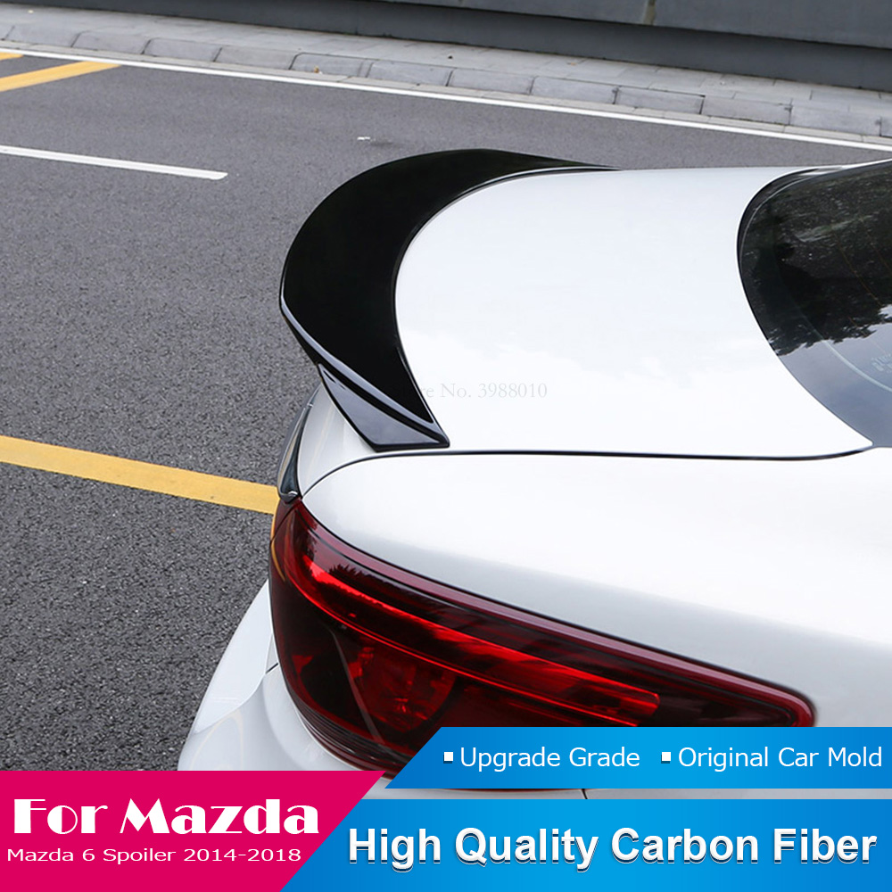 For <font><b>Mazda</b></font> <font><b>6</b></font> Atenza <font><b>2014</b></font> 2015 2016 2017 2018 Tail Roof <font><b>Spoiler</b></font> Carbon Fiber Trunk Rear Wing Lip Black <font><b>Spoiler</b></font> Decoration image