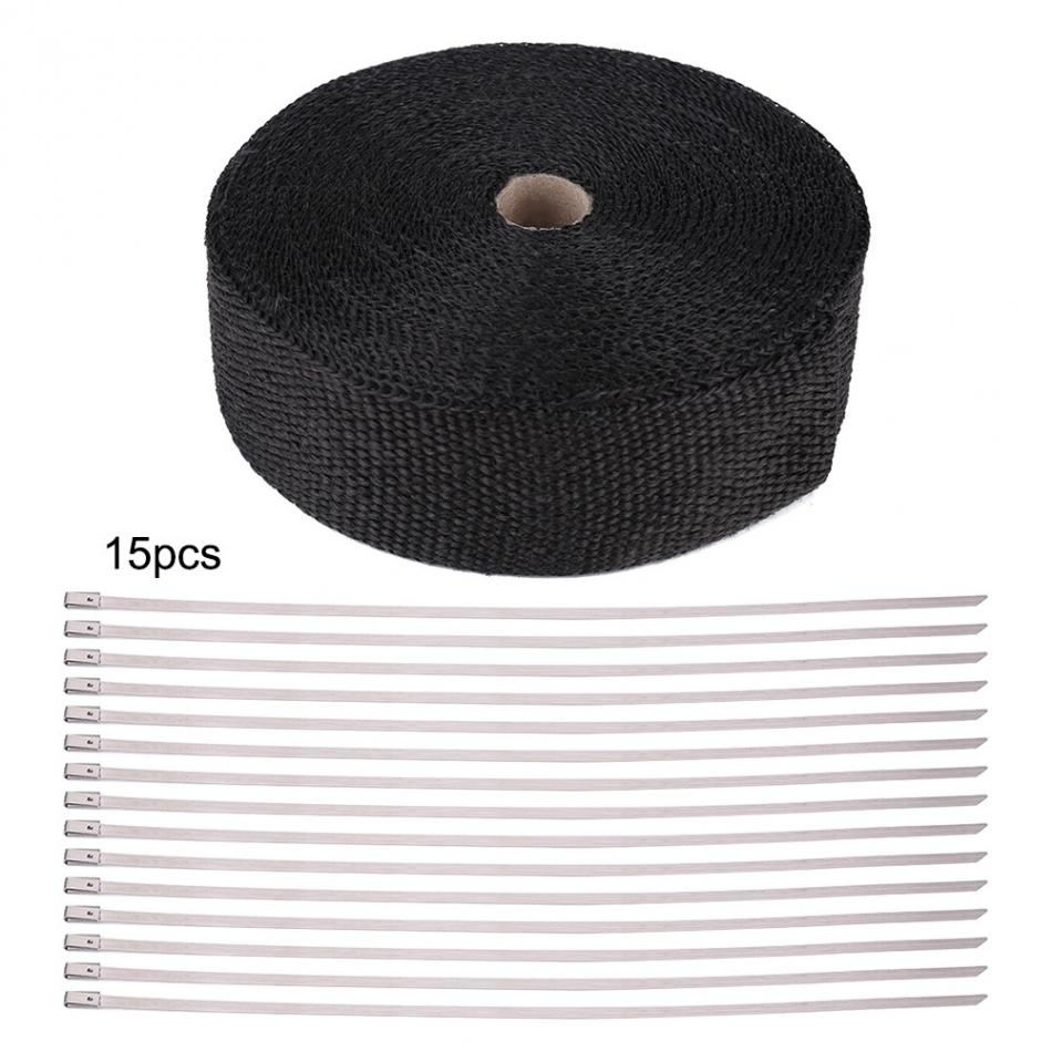 49FT Длина Черная высокая теплоизоляция обмотка на выхлопную трубу клейкая лента ткань для автомобиля мотоцикла выхлопная теплоизоляционна