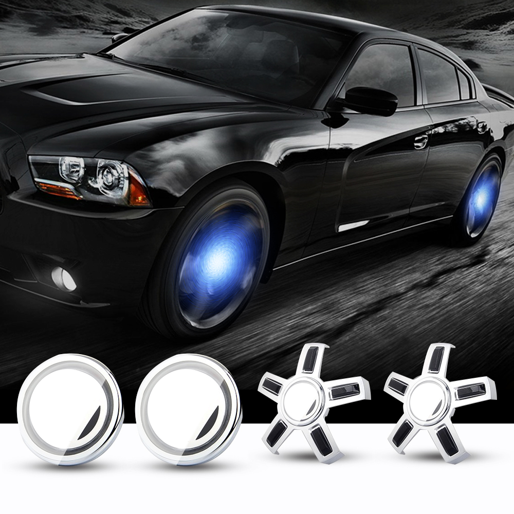Hub Cap Light Lamp 4PCS <font><b>Car</b></font> Floating Illumination <font><b>Wheel</b></font> <font><b>Center</b></font> Caps LED Light <font><b>Cover</b></font> Lighting Energy Flash Auto For VW 56mm 65mm image