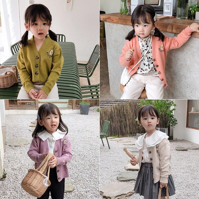 abacate bonito bordado blusas meninas 4 cores criancas cardigans de malha outono criancas outwear roupas casuais