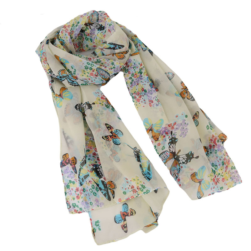2020 Fashion Butterflies Scarves Women's Scarf Long Shawl Spring Chiffon Infinity Scarf Woman Foulard Femme 150*40cm