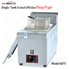 GF71/GF72 Commerical single/double tank LPG Gas Deep Fryer Stainless Steel Gas Frying Machine Oil fryer for chips/fried chicken цена и фото
