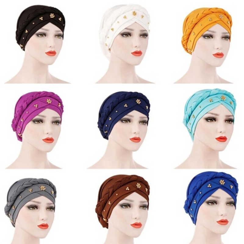 عمامة النساء الديكور عقال الهند قبعة مسلم كشكش الشعر القبعات قبعة عصابات رئيس التفاف أغطية الرأس قبعة