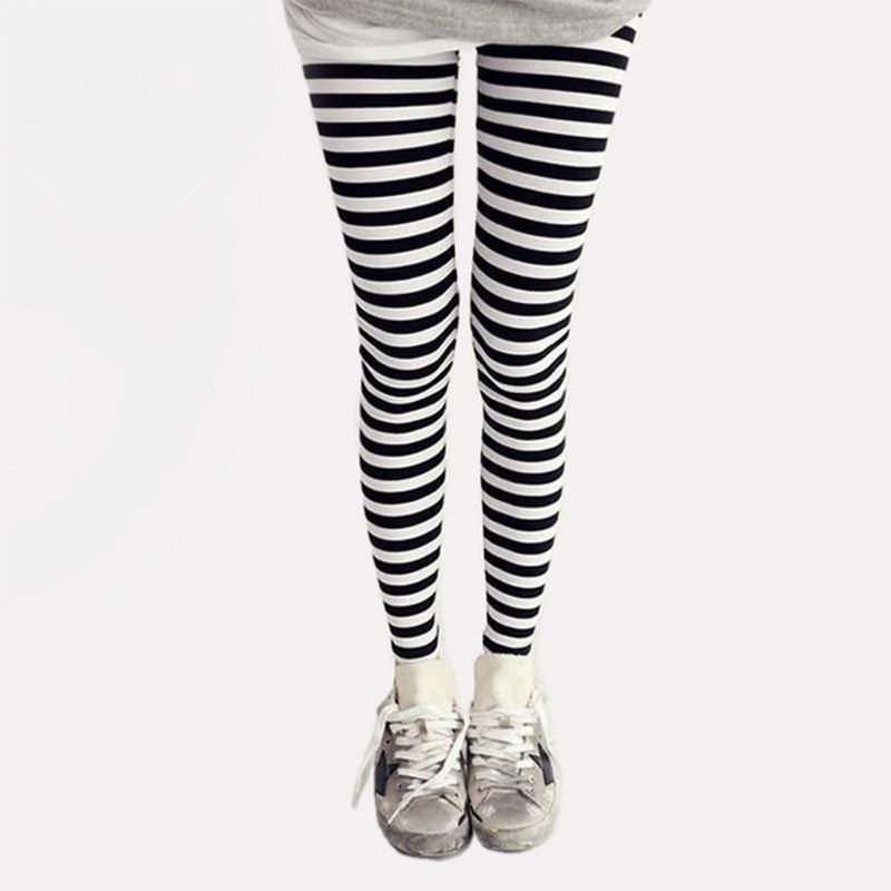 Women Ankle Length Skinny Leggings Black White Horizontal Striped Pants High Quality And Brand New
