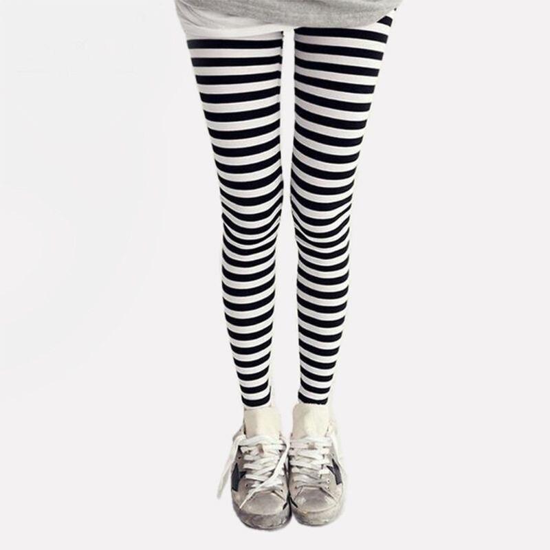 Women Ankle Length Skinny Leggings Black White Horizontal Striped Pants High Quality And Brand New