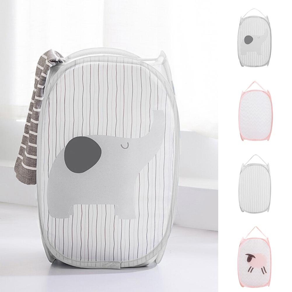 Striped Sheep Elephant Large Basket Dirty Folding Storage Clothes Bucket Laundry Holder Organize