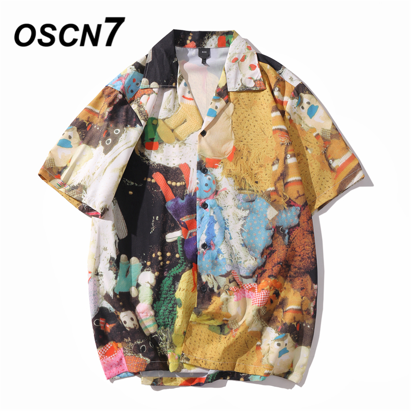 OSCN7 Casual Printed Short Sleeve Shirt Men Street 2020 Hawaii Beach Oversize Women Fashion Harujuku Shirts For Men XQ96