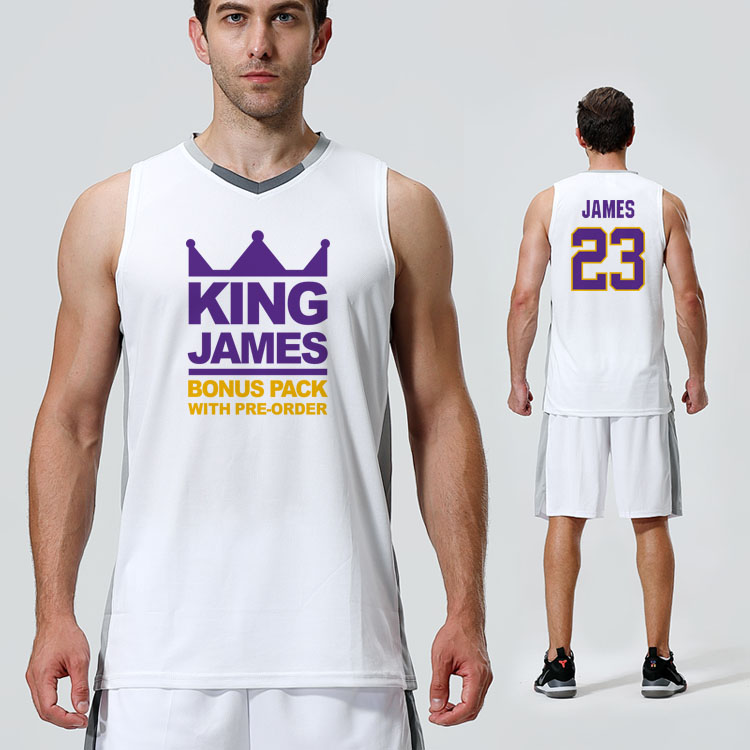 SYNSLOVE adult men solid white no.23 king lebron james training basketball sleeveless sport jersey loose plus size customized