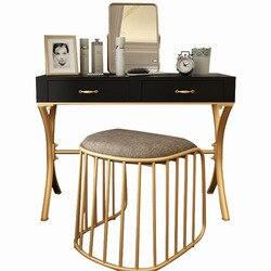 Tocador de hierro forjado moderno conciso pequeño diseño de apartamento Mini-Mesa de maquillaje de pintura asado Simple y fácil de montar