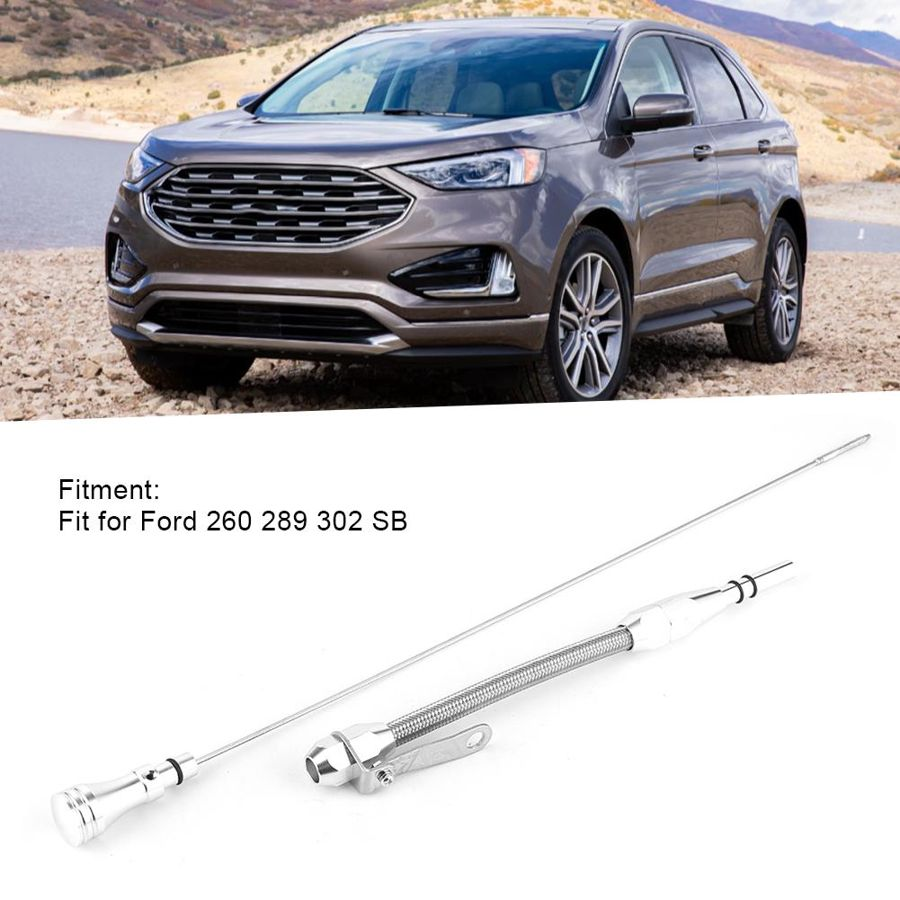 Gorgeri Oil Dipstick Stainless Steel Flexible Engine Oil Dipstick Accessory Fit for Ford 260 289 302 SB