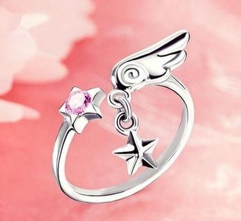 цена на Anime Card Captor Kinomoto Sakura Ring Pendant Cardcaptor S925 Silver Finger Ring Adjustable Gift