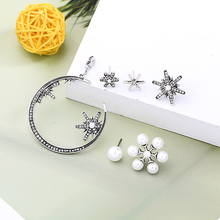 2019 Exaggerated Tide Circle Round Earrings Female 3 Piece Set Pearl