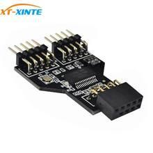 Adaptador de cabo de extensão do divisor 1 a 2 do encabeçamento da relação do usb 9pin da placa-mãe conector usb 2.0 do cubo de usb de 9 pinos para o rgb bluetooth