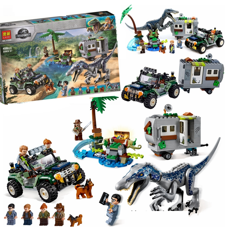 New Jurassic World Park Baryonyx Face-Off Treasure Hunt Building Block Lepine Jurassic 75935 Bricks Toys For Children