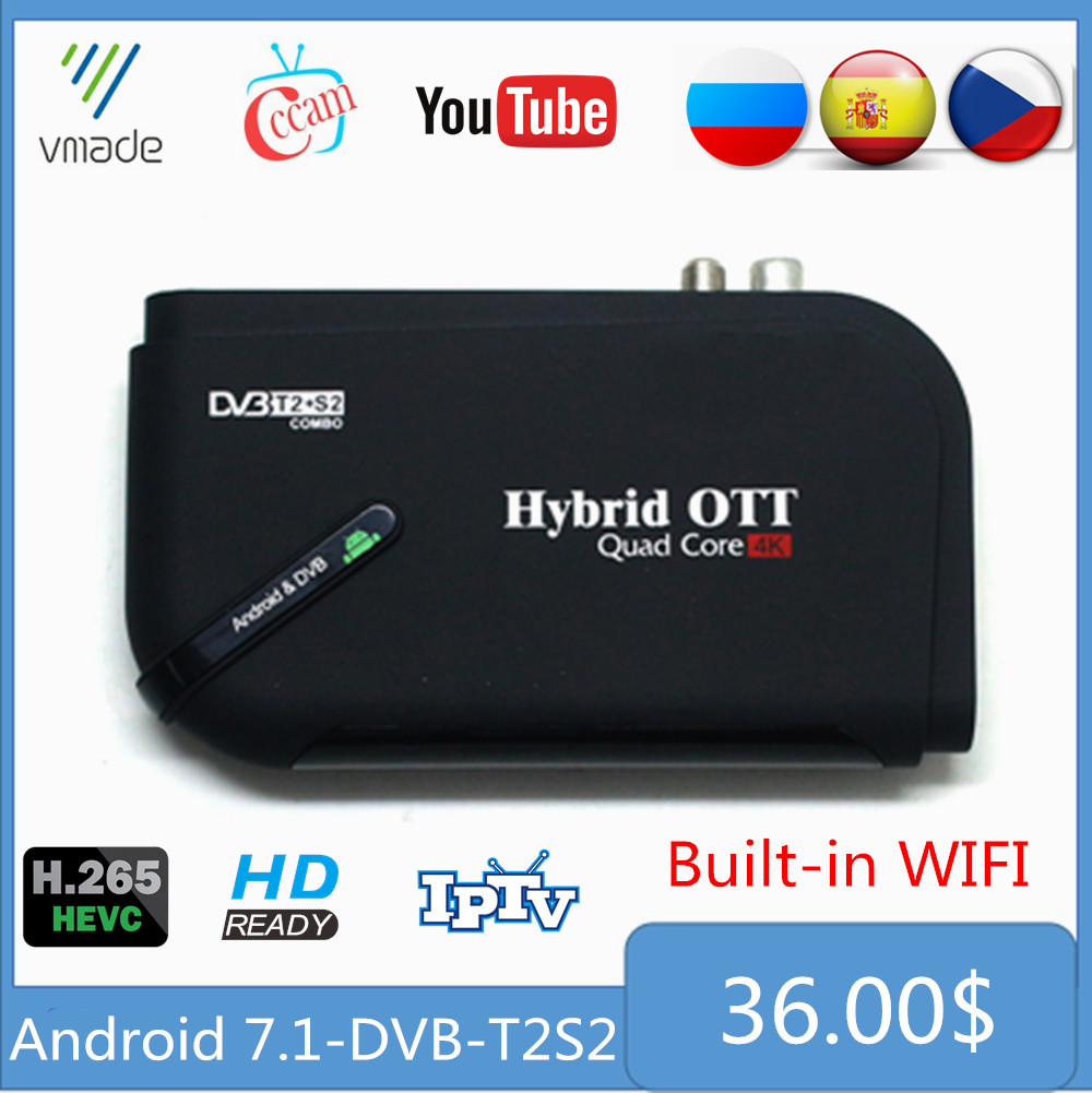 <font><b>Android</b></font> 7.1 <font><b>DVB</b></font>-<font><b>T2</b></font> <font><b>DVB</b></font>-S2 1 + 8GB Amlogic S905D Octa Core UHD 4K Combo Terrestrische Satelliten-receiver Smart IPTV <font><b>TV</b></font> Set-Top <font><b>Box</b></font> image