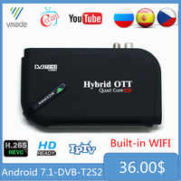 Android 7,1 DVB-T2 DVB-S2 1 + 1 + 8GB Amlogic S905D Octa Core 4K UHD Combo terrestre receptor de satélite Smart IPTV TV Set-Top Box