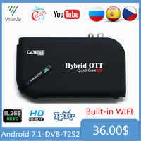 Android 7.1 DVB-T2 DVB-S2 1 + 8GB Amlogic S905D Octa Core UHD 4K combiné récepteur Satellite terrestre intelligent IPTV TV décodeur