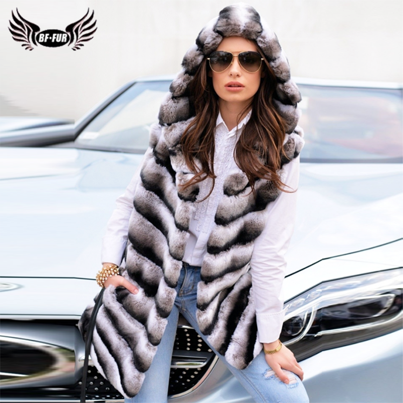 Natural Real Chinchilla Rex Rabbit Fur Vest With Hood Full Pelt Genuine Rex Rabbit Jacket With Leather Belt Luxury Overcoat 2019
