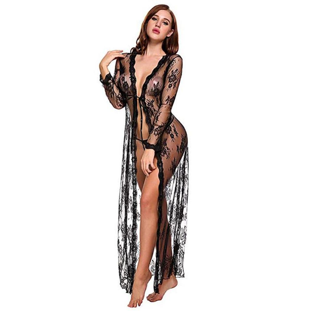 Erotic Hot Perspective Sexy Lace Lingerie Women Babydoll Kimono Robe Sexy Underwear Plus Size Porno Sexi Langerie Sexy Costumes