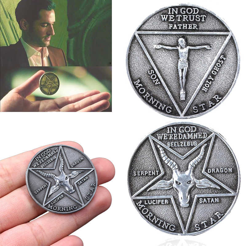 Tv Show Lucifer Morningstar Satanic Pentecost Cosplay Coin Herdenkingsmunt Badge Halloween Metalen Accessoires Prop Coin
