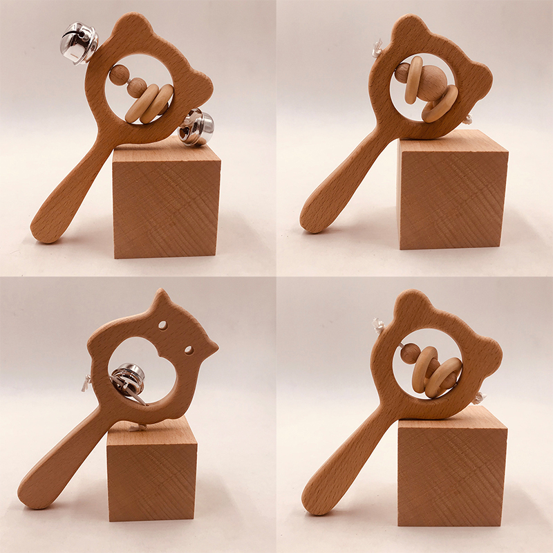 Baby Rattles Toys Wooden Baby Teethers Bear Owl Beech Wooden Rings Hand Bell Rattle Montessori Stroller Toy For Baby 0-12 Months