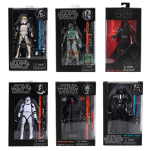 Figuras de ação colecionáveis star wars, brinquedos de coleção, série preta 6 Polegada, stormtrooper, boba, fett darth vader kylo ren presentes
