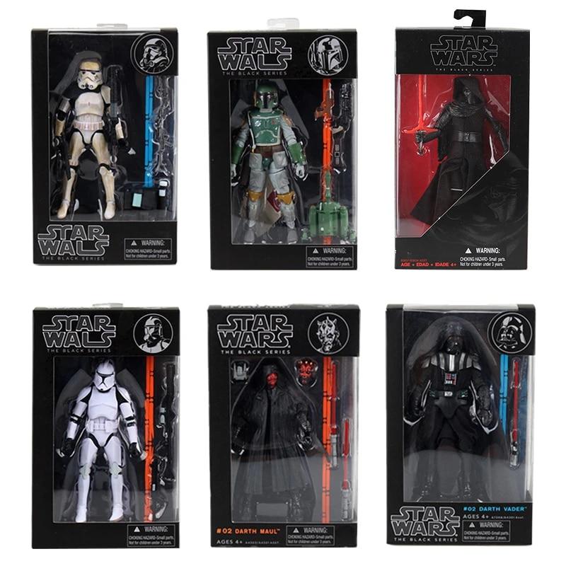 Star Darth Vader Boba Fett Wars Stormtrooper Black Action 6 Series Figure Toys