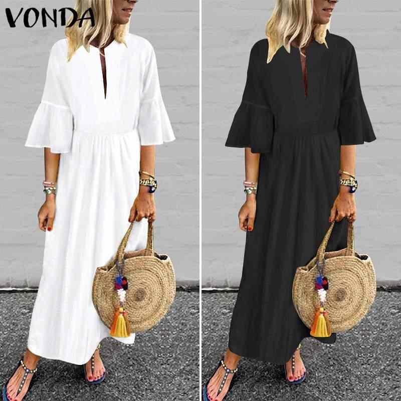 Maxi długa sukienka VONDA kobiety letnia sukienka plażowa czeski Vintage Flare rękaw Party Dress 2020 letnie kamizelki suknia na co dzień Plus rozmiar