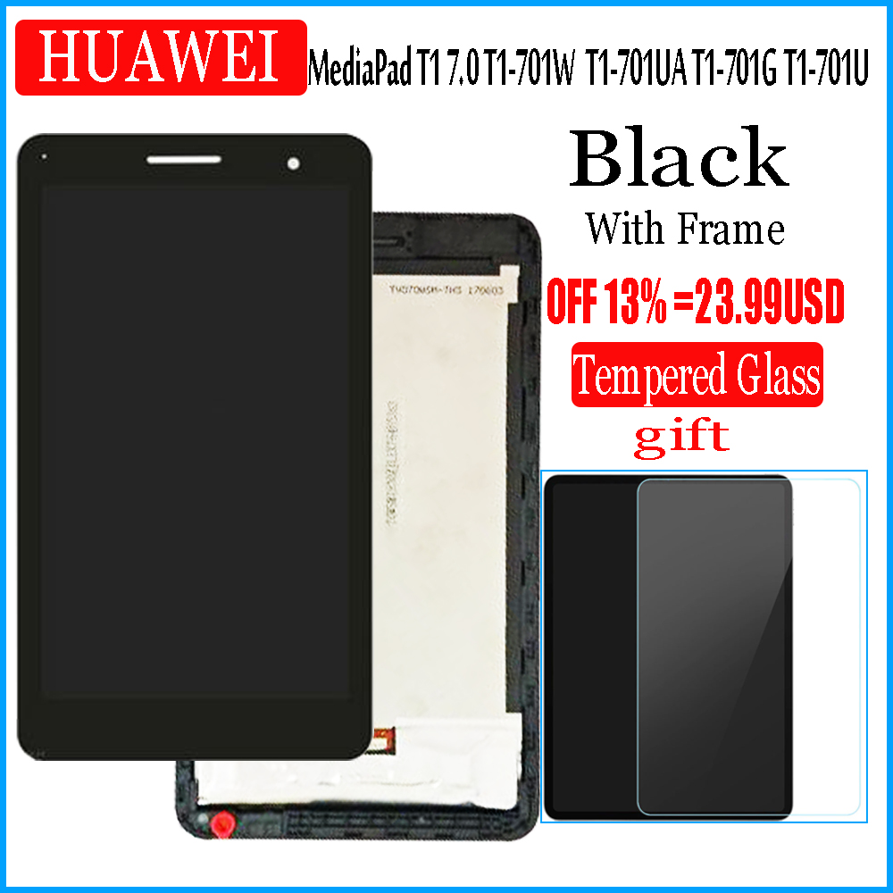 With Frame LCD Display And With Touch Screen For HUAWEI MediaPad T1 7.0 701 T1-701 701U T1-701U 701UA T1-701UA  Digitizer