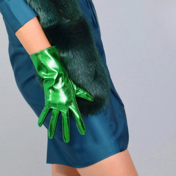 LATEX SHORT GLOVES Faux Shine Patent Leather 11 28m Electric Green Wrist Long Women Leather Gloves WPU255 oasis 28m