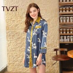 Tvzt 2020 Spring New Women Pajamas  Comfort Cotton Satin Elegant Printed Sleepwear Coat Loose Homewear Leisure Wear