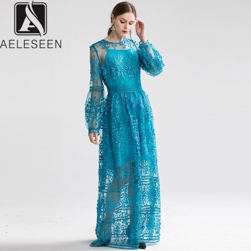 AELESEEN 2020 nouvelle mode luxe broderie parole longueur robes élégant Transparent maille haute qualité dentelle fête Maxi robe