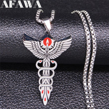 AFAWA Medical Symbol Nurse Doctor Stainless Steel Necklace Caduceus Snakes Wings Day Gift joyas N3309S01