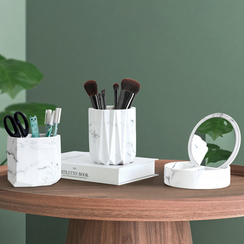Nordycki kreatywny sześciokątny żywica marmurowy długopis pulpit Handmade kosmetyki odbiornik akcesoria do dekoracji wnętrz tanie i dobre opinie Europa Nordic Miłość Żywica