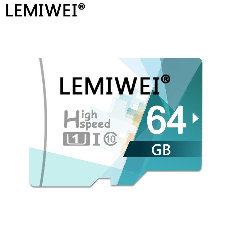 TF Flash Memoria Card 64GB 32GB 16GB 8GB High Speed LEMIWEI Trans Flash Card UHS-I Class10 TF Card Compatible With Smartphone