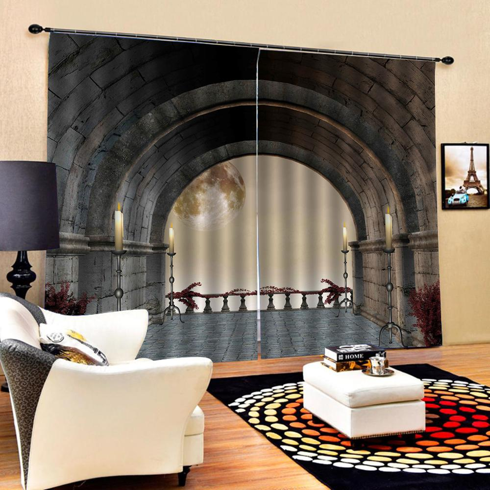 stereoscopic curtains  Customized size Luxury Blackout 3D Curtain Luxury Blackout Window Curtain Living Room tunnel curtains