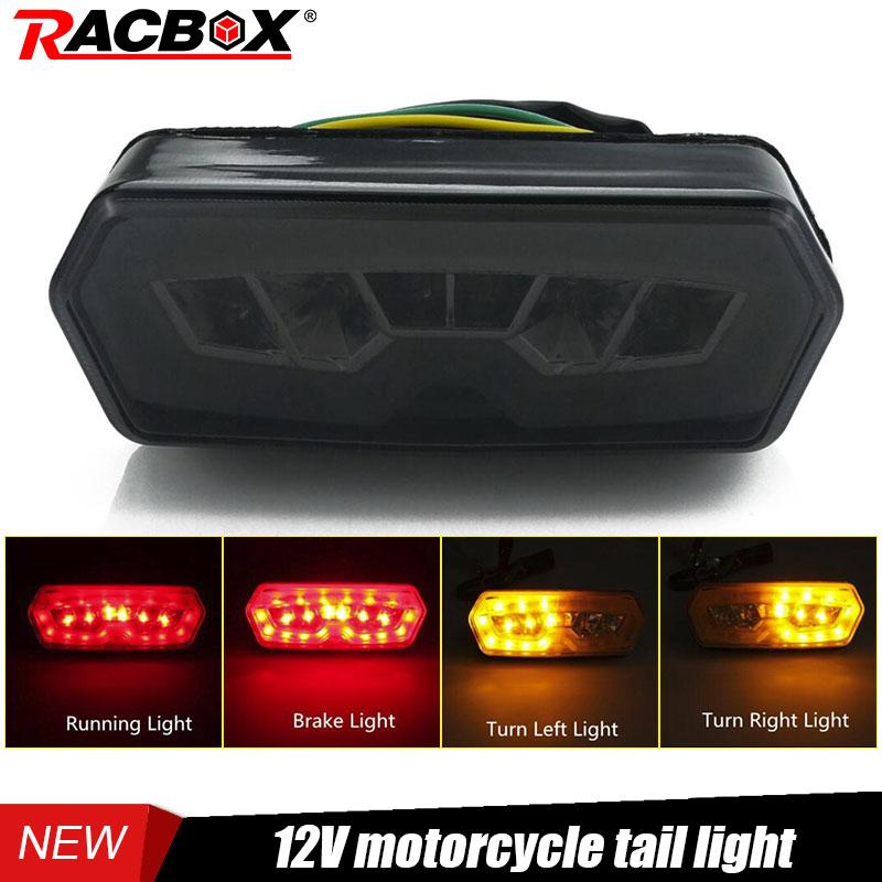 Smoke Motorcycle LED Tail Light Red Running Lamp Brake Light Amber Turn Signal 12V Taillight For HONDA CB 650 F CBR 650 CTX 700