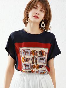 SUYADREAM Summer Tops O-Neck-Shirts SILK Women Short Bat-Sleeved Spring Casual 100%Real