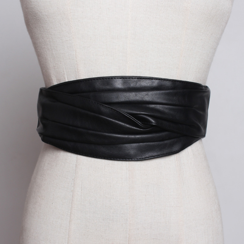 2020 High Fashion Waistband Female PU Leather Corset Belt New Design Belts For Women Stylish Wide Belt Solid Black Belt ZK579
